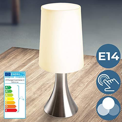 Tischlampe mit Dimmer Touchfunktion - EEK: A++ bis E, 1er Set, E14, LED, mit Berührungssensor - Nachttischlampe, Tischleuchte, Nachttischleuchte - für Wohnzimmer, Schlafzimmer, Kinderzimmer (1er)