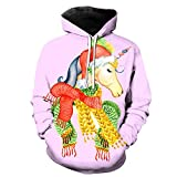 FGVBWE4R 3D Print Fun Christmas Unicorn Child Hoodie Black Friday Gift for Kids 2019 New-L