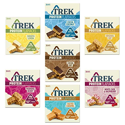Trek Protein Flapjack Mixed Case Selection - Gluten Free, Dairy Free (Pack of 21 Bars)