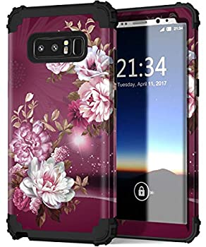 Hocase Galaxy Note 8 Case Heavy Duty Shockproof Hard Plastic+Silicone Rubber Bumper Dual Layer Protective Case for Samsung Galaxy Note 8  SM-N950  2017 - Royal Purple/White Flowers