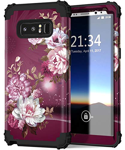 Hocase Galaxy Note 8 Case, Heavy Duty Shockproof Hard Plastic+Silicone Rubber Bumper Dual Layer Protective Case for Samsung Galaxy Note 8 (SM-N950) 2017 - Royal Purple/White Flowers