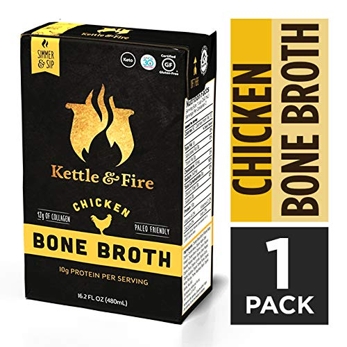 Chicken Bone Broth Soup by Kettle and Fire, Pack of 2, Keto Diet, Paleo Friendly, Whole 30 Approved, Gluten Free, with Collagen, 7g of protein, 16.2 fl oz