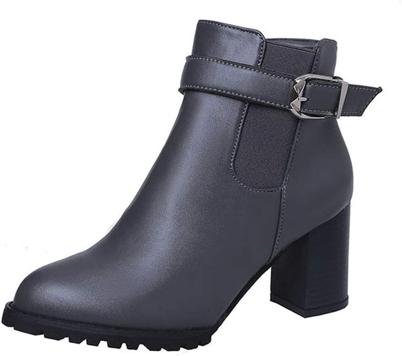 Women's Block Heel Side Zipper Ankle Booties Winter Boots Waterproof Boots