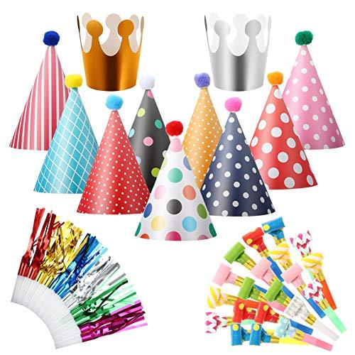 metagio 36 Stücke Partyhüte Set Partyhüte Lufttröte Pfeife Partyhüte Party Kegel Hüte Partyhütchen Geburtstag Kegel Hüte Party Supplies Hütchen Geburtstagshut für Kinder Festival Baby Shower
