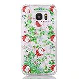 SpiritSun Funda para Samsung Galaxy S7 Edge, Silicona Case Carcasa con Líquido y Transparente, Dura Cover Bumper TPU Tapa Trasero para Samsung Galaxy S7 Edge Protector Caso - Papá Noel 2
