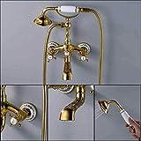 Ducha Sistema de Oro del Grifo de bañera de Doble manija cristalina Bañera Ducha Conjunto de Mezclador del Grifo montado en la Pared de bañera Grifo del Fregadero con DDLS (Color : Goldenes a)