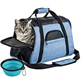 SOUNDY Pet Carrier for Cat and Dog, Portable Folding Pet Carrier Airline Approved, Suitable for Small Dogs, Puppies, and Medium-Sized Cats (Blue)