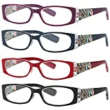 ALTEC VISION Women's Reading Glasses - 4 Pairs Ladies Fashion Print Readers 1.50