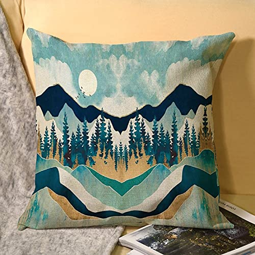 best & Juego de fundas de almohada de microfibra de lino con diseño de paisaje nórdico, lujosas fundas de almohada sin planchar, son transpirables