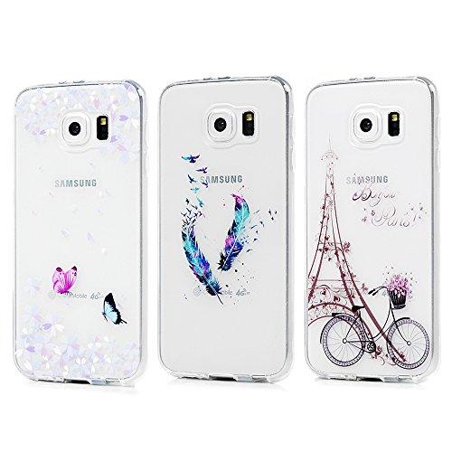 KASOS Lot DE 3 Coque Samsung Galaxy S6, Coque Housse Case Bumper Étui Coque de Protection en TPU Souple de Couleur Silicone Modèle Peinture Coloré Housse pour Samsung Galaxy S6 - Papillon+Tour+Plume