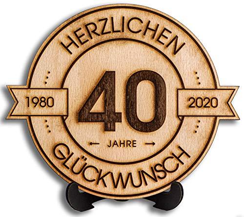 DARO Design - Holzscheibe graviert - 40 Jahre - Größe 20cm- Geschenk zum Jubiläum, 40 Geburtstag, Jahrestag - Herzlichen Glückwunsch
