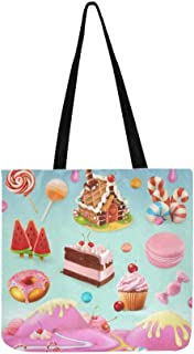Confectionery Desserts Cake Cupcake Candy Lollipop Canvas Tote Handbag Shoulder Bag Crossbody Bags Purses For Men And Wome...