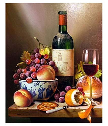 GEGEMEI DIY schilderen op cijfers wijnglas voorgedrukt canvas-olieverfschilderij cadeau voor volwassenen kinderen kits huis decoratie 16 * 20 inch
