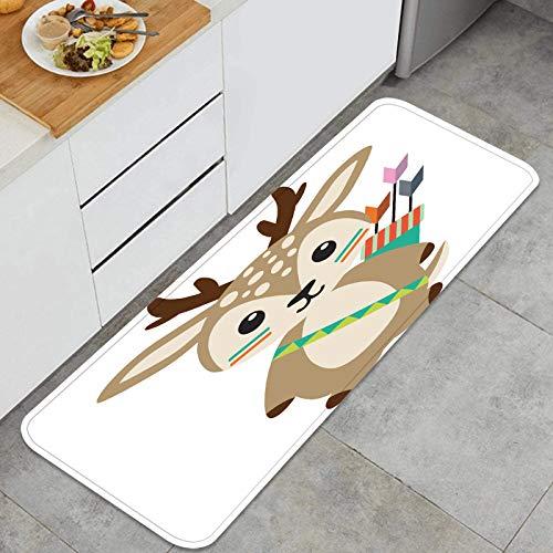 PUIO Juegos de alfombras de Cocina Multiusos,diseños inspirados en la ilustración de Ciervos del Bosque Tribal,Alfombrillas cómodas para Uso en el Piso de Cocina súper absorbentes y Antideslizantes