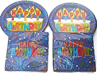 Happy Birthday Cake Candles Confetti Theme Design Party Pack Plates (36) and Napkins (40)