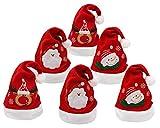 Carnavalife Pack 6 Gorro Papá Noel de Navidad de Santa Claus con Alce y Copo de Nieve Sombreros Rojos Navideño de Invierno para Fiesta Festiva de Año Nuevo para Adultos y Niños (Pack 6 gorros)