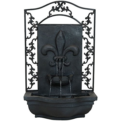 Sunnydaze French Lily Outdoor Wall Water Fountain - Waterfall Wall Mounted Fountain & Backyard Water Feature with Electric Submersible Pump - Lead Finish - 33 Inch