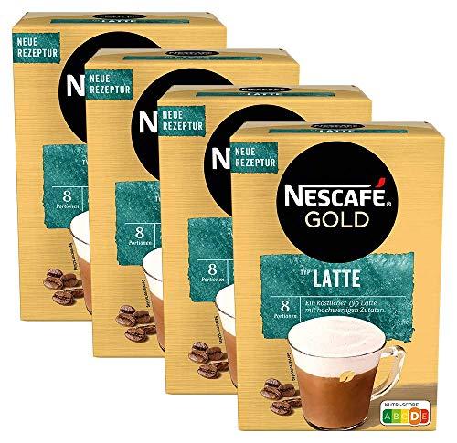 NESCAFÉ Gold Typ Latte, Getränkepulver aus löslichem Bohnenkaffee, koffeinhaltig, 4er Pack (à 8 x 18g)