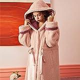 HYSJLS Accappatoio Cappuccio Robe Inverno Accappatoio Donna Allentato Loungewear Dolce tenera Abito Vestito in Pile Corallo Caldo Accappatoio Rosa Grigio (Color : Pink, Size : L)