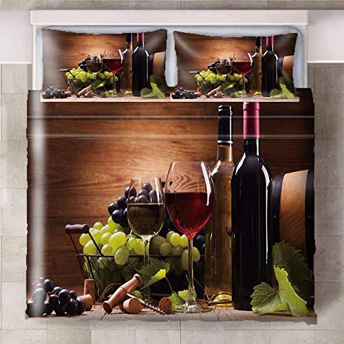 HYBWSO Funda nórdica de 3D Vino Tinto marrón Verde Negro Violeta Juego de Cama con Cierre de Cremallera,Funda de edredón de 100% poliéster Suave 200cmx200xm con 2 Fundas de Almohada