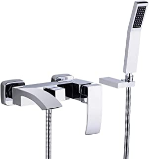 JinYuZe Modern Brass Waterfall Wall-mount Bath Tub Filler Faucet with Handheld Shower Head (with Hand Shower)