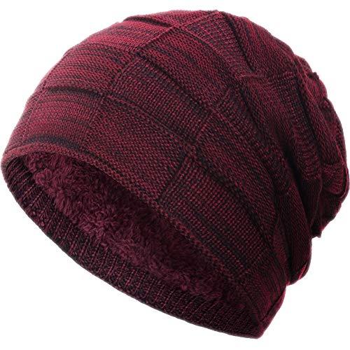 Compagno Gorro de invierno tipo slouch beanie de punto cesta con suave interior de forro polar, Color:Vino rojo moteado