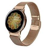 Coholl Correa Compatible con Samsung Galaxy Watch Active/Active 2 40mm 44mm,20mm Mesh Pulsera de Repuesto de Acero Inoxidable para Galaxy Watch 3 41mm / Gear S2 Classic/Gear Sport,Oro rosa