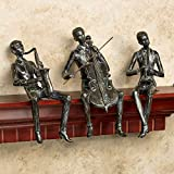 Saxophone Cello Trumpet Musicians Shelf Sitters Set of Three Music Tunes Brown