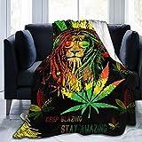Socira Flannel Throw Blanket,Reggae Rasta Lion Marijuana Jamaica Weed Cannabis Small Fleece Sofa Blanket,Comfy Camping Lap Blanket,Super Soft Thin Noon Break Blanket for Office Home Car 40''X50''