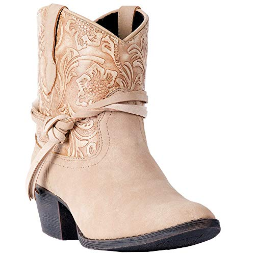 """Dingo Womens Valerie Paisley Round Toe Western Cowboy Boots Ankle Low Heel 1-2"""" - Beige - Size 8 B"""