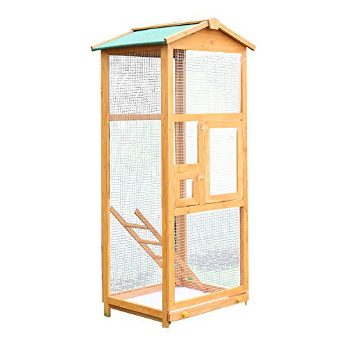 PawHut 65' Large Wooden Vertical Outdoor Aviary Flight House Bird Cage With 2 Doors