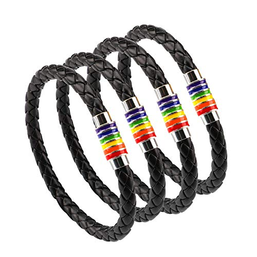 ANDERK 4 Pack Unisex Black Braided Leather Gay Pride Rainbow Bracelet Bangle with Magnetic Clasp for Lesbian, Gay, Couple and Children