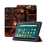 OLAIKE Custodia per Tutto nuovo tablet Kindle Fire HD 8/8 Plus(10a Generazione, 2020), Copertura del supporto a tre ante con Auto Sleep/Wake (Solo per 2020 Fire HD 8/8 Plus),La Biblioteca