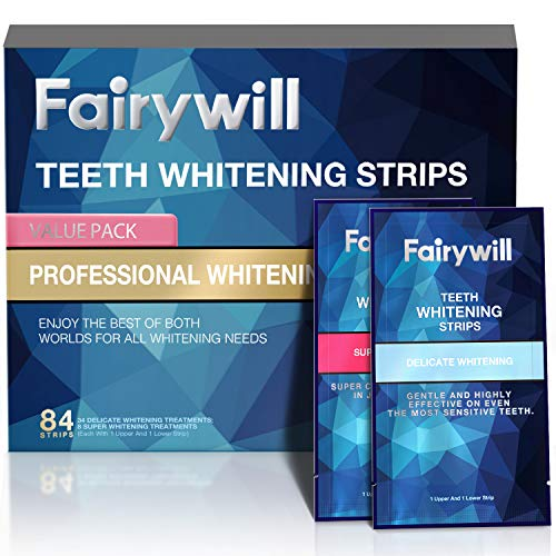 Fairywill Express Whitening Strips 1 Hour Whitening, Professional Teeth Whitening Strips Kits Sensitive Teeth Remove Many Years Stains and Keep Teeth Whitening, Pack of 84 Pcs Teeth Strips