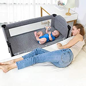 Angelbliss 4 in 1 Baby Beside Sleeper Bassinet | Portable Crib with Custom Sheets | Playards Easy Folding | Playpen Include Comfortable Mattress,Diaper Changer,Storage Basket for Newborn (Grey)