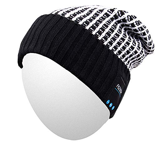 Qshell Outdoor Trendy Bluetooth Slouchy Knit Beanie Hat Cap with Stereo Headphone Headset Earphone Speaker Microphone Hands Free Talking Compatible with iPhone Samsung Android Smartphones - Black