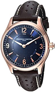 Frederique Constant Men's HSW Stainless Steel Swiss-Quartz Watch with Leather Calfskin Strap, Brown, 21 (Model: FC-282AN5B4)