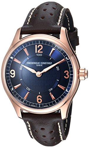 Frederique Constant Men's 42mm Brown Calfskin Band Steel Case Swiss Quartz Blue Dial Watch FC-282AN5B4