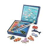 Jouet de Pêche Magnétique en Bois Puzzle D'enfants Voyage Jouet D'imitation Jouet De Bain Cadeau pour 0-3 Ans Garçons Filles