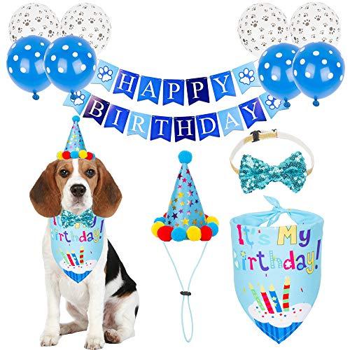 PTDECOR Dog Birthday Bandana Hat Set, Birthday Boy Dog Hat Scarf Bow tie Happy Birthday Banner Balloon Dog First Birthday Party Supplies Decorations (Birthday Boy)