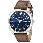Fashion Shopping Seiko Men's SNKN37 Stainless Steel Automatic Self-Wind Watch with Brown Leather