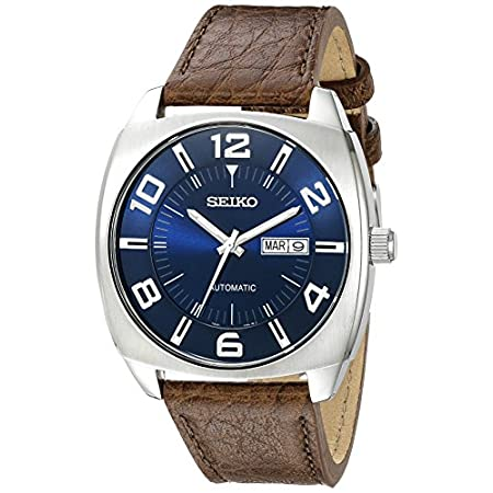 Fashion Shopping Seiko Men's SNKN37 Stainless Steel Automatic Self-Wind Watch with Brown Leather Band