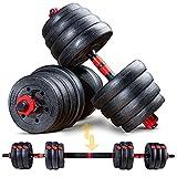 Sportstech Set di manubri Innovativo 2 in 1 AH150 | Manubri e bilancieri | Manubri Set da 20kg, 30kg, 40kg | Blocco di Sicurezza + connettore Extra Lungo 400mm | Fitness per Uomini e Donne (40 kg)