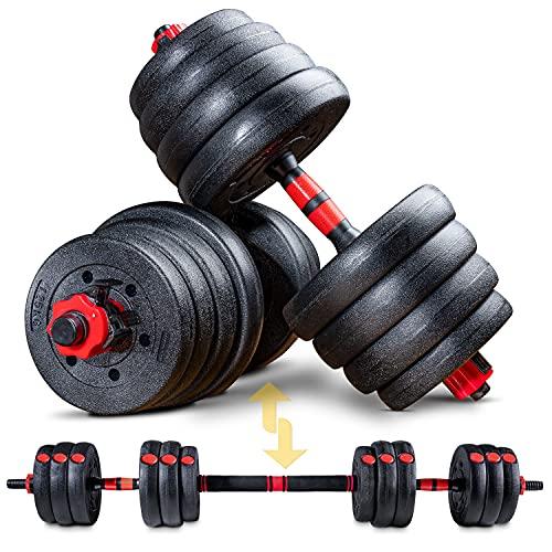 Sportstech Set di manubri Innovativo 2 in 1 AH150   Manubri e bilancieri   Manubri Set da 20kg, 30kg, 40kg   Blocco di Sicurezza + connettore Extra Lungo 400mm   Fitness per Uomini e Donne (40 kg)