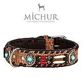 Michur Carlota - Collier pour Chien en Cuir Style Indien avec Pierres turquoises, Marron, différentes Tailles, Collier Chien en Cuir