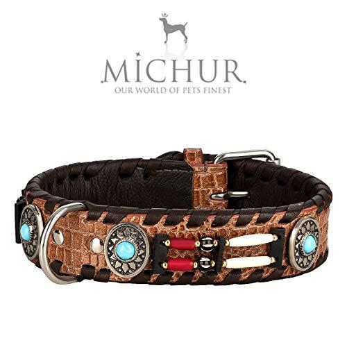 MICHUR Carlota hondenhalsband van leer, leren halsband hond, halsband, bruin, hoge kwaliteit, in verschillende maten verkrijgbaar
