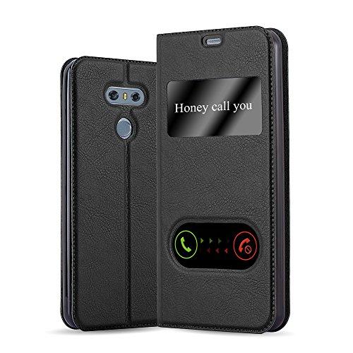 Cadorabo Funda Libro para LG G6 en Negro Cometa - Cubierta Proteccíon con Cierre Magnético, Función de Suporte y 2 Ventanas- Etui Case Cover Carcasa