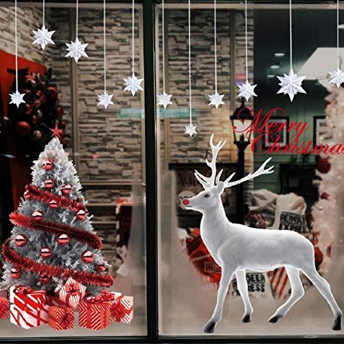 Fensterdeko Schneeflocken Fensterbilder Weihnachten Fensteraufkleber Selbstklebend Winter Weihnachtsdeko Weihnachtsmann Sterne Weihnachts Rentier Aufkleber DIY-Dekorationen(Weihnachten Stickers)