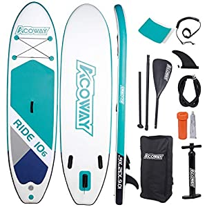ACOWAY Inflatable Stand Up Paddle Board,10'6″ Long 33″ Wide 6″ Thick| SUP Paddleboard Accessories Backpack |Bottom Fin Paddling Surf Control, Non-Slip Deck | Youth & Adult Stand up Paddle Board