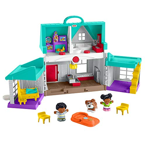 Fisher-Price Little People Big Helpers Home, blue playset with black figures for toddlers and preschool kids
